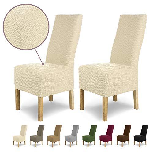 SCHEFFLER-Home Luna-Long 2 Fundas de sillas, Estirable Cubiertas, Chenilla extraíble Funda con Banda elástica, Crema