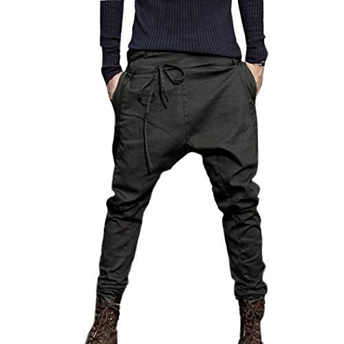 Usstore Mens Pants,Sweatpants Harem Pants Tactical Hiking Trouser Pants for Men (Dark Gray, L)