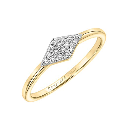 Diamond Stackable Ring with Diamond Shape Band in 18k Yellow Gold Vermeil 1/10ct (I-J Color, I3 Clarity), Size 7, by Keepsake