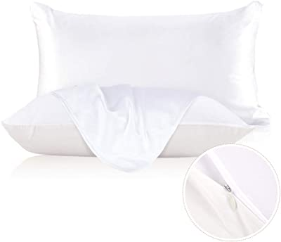 LilySilk Silk Pillowcase for Hair and Skin with Cotton Underside Standard/Queen 20x30 Inch White 1pc 19 Momme Gift Box