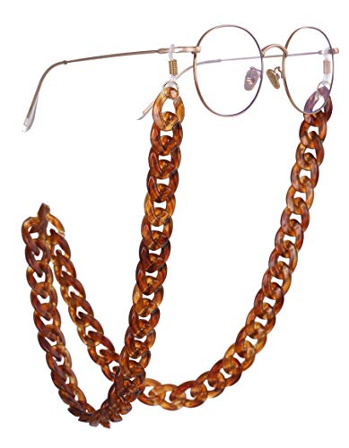 EUEAVAN Mode Sonnenbrillen Kette Harz Brillenhalter mit Einstellbaren Silikonschlaufen für Mädchen Frauen Urlaub Festival Geschenke (Braun)