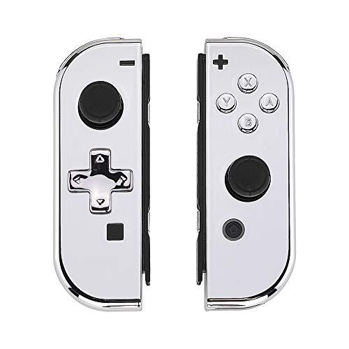 eXtremeRate Coques avec Kit de Boutons pour Joycons(Version D-Pad) Nintendo Switch Manette Contrôleur,DIY Boîtier Housse de Remplacement pour NS Joycons(Coque de Console Non Incluse)-Argenté Chromé