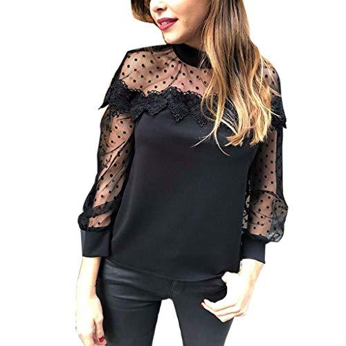 Luckycat Elegante de Mujer con Bordado Blusa Pullover Ligero para Primavera y Verano Blusa de Malla Clubwear para Mujer Transparente Sexy Camisas de Manga Larga Costura de Malla Camisetas y Tops