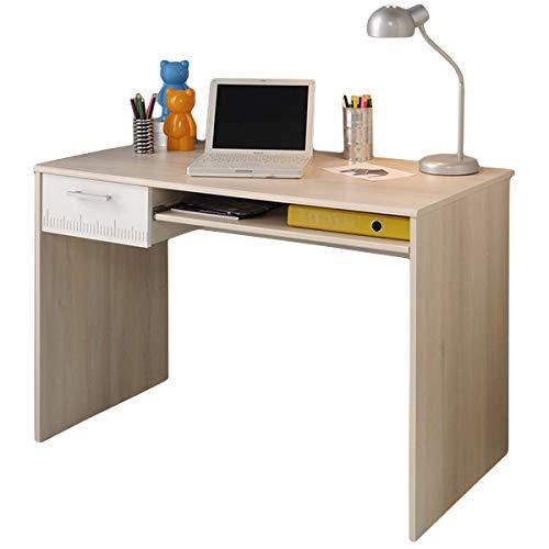 Schreibtisch grau / weiß B 109 cm akazie PC Computertisch Kinderschreibtisch Jugendschreibtisch Bürotisch Jugendzimmer Kinderzimmer