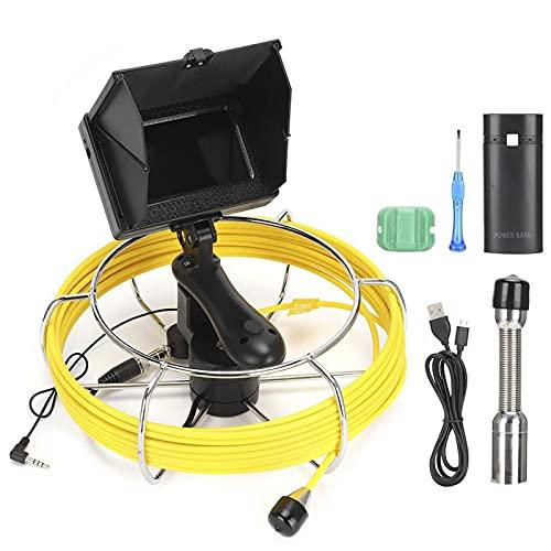 Pwshymi Drenaje Alcantarillado Endoscopio Cámara de Video Portátil Ajustable LED Aleación de Aluminio Impermeable Recargable para inspección de tuberías(10 Meters)