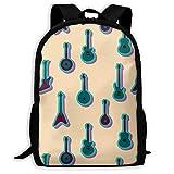 ADGBag Blue Guitars Art Fashion Outdoor Shoulders Bag Durable Travel Camping for Kids Backpacks Shoulder Bag Book Scholl Travel Backpack Sac à Dos pour Enfants