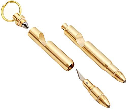 Mini llavero multifuncional, puede abrir la caja con un abridor de botellas, llavero desmontable, hecho por latón macizo, 5 en 1 (oro)
