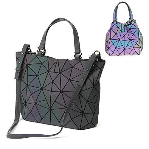 Parnerme Handtasche Damen Geometrische Taschen Schultertaschen Leuchtende Handtasche Mode Holographische Frauen Umhängetasche Scherbe Gitter PU Leder Top-Henkeltaschen Taschen (Colour-2)