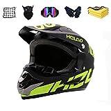 Casco completo para moto de motocross, mountain bike, Dirt Bike para hombre, ATV, mountain bike, deportes al aire libre, con gafas, máscara y guantes (negro) (XL (61-62 cm)
