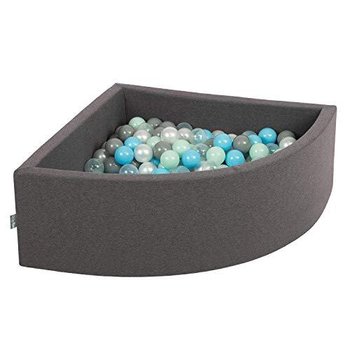 KiddyMoon 90X30cm/200 Balles Piscine À Balles ∅ 7Cm pour Bébé Quart Angulaire Fabriqué en UE, Gris Foncé: Perle-Gris-Transparent-Babyblue-Menthe