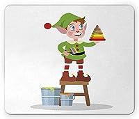 """10"""" X 12""""エルフマウスパッド、ファンキーピエロの服を着た少年、ピラミッドグッズのホリデーコンセプトを描く、長方形の滑り止めのゴム製マウスパッド、標準サイズ、ライムグリーン、マルチカラー"""