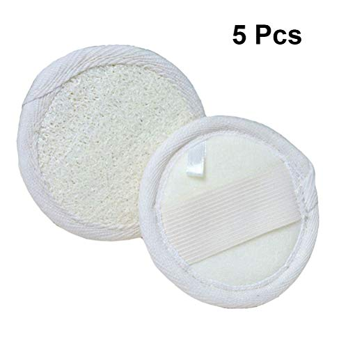 Lurrose 5pcs pad de visage rond de Loofah Pads exfoliant facial doux de Loofah pour femmes hommes enfants