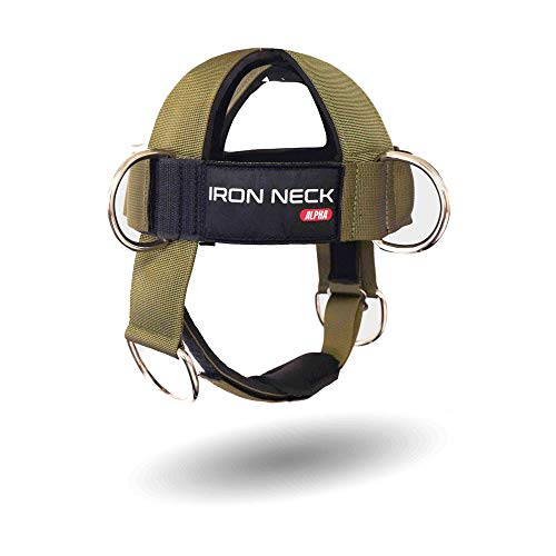 Iron Neck Alpha Harness – Neck Harness Workout Accessory – Head Harness/Neck Weight Harness – Neck Training Harness/Weight Lifting Head Harness with Nylon Tether and 2 Carabiners