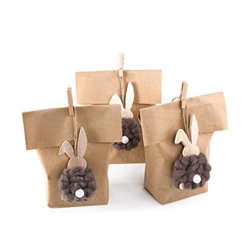 SET Ostern Verpackung: 3 Papiertüte braun 14 x 22 cm + 3 natürliche Osterhasen Anhänger Osterdeko Hänger Osternest Kinder give-away Kunden Osterhänger