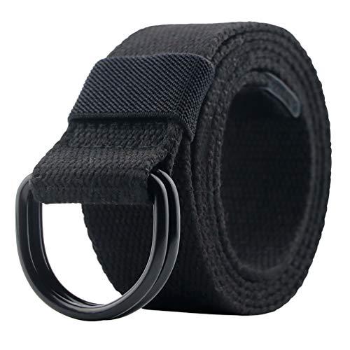 Canvas Belt, Military Web Black Belt Women/Men with Double D Ring Buckle 42'