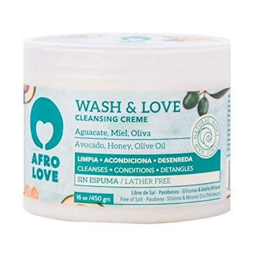 Afro Love Crème Lavante Wash & Love – Après-Shampooing Co-Wash sans silicones, parabènes, SLS, et huile minérale 450g, à base d'avocat, miel et huile d'olive sans mousse (450)