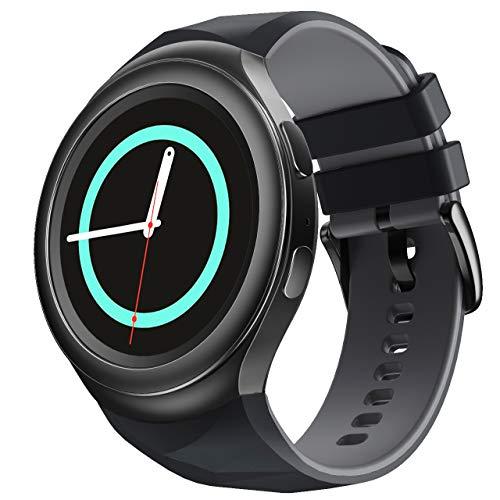 NotoCity Compatible con Samsung Gear S2 Pulsera de Silicona Correa de Reloj de Repuesto Deportivo para Samsung Gear S2 Smartwatch SM-R720 SM-R730(Negro-Gris,L)