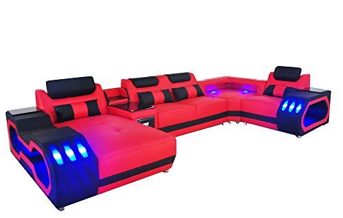 JVmoebel Ledersofa Couch Wohnlandschaft Eck Garnitur Design Modern Sofa U-Form Sofa Rot