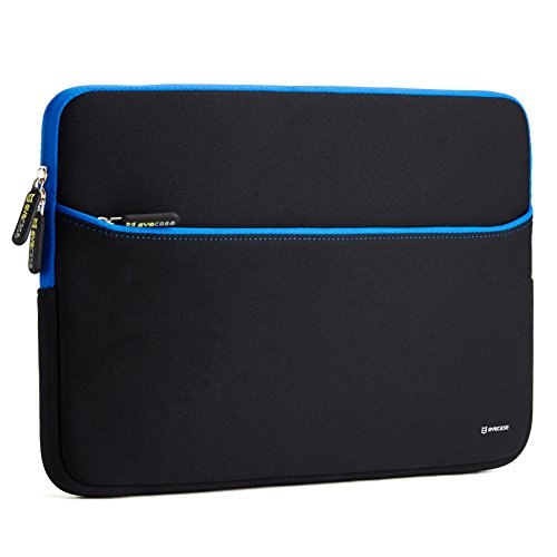 Sleeve Case Evecase 15.6-Inch Ultra-Slim Neoprene Padded Sleeve Pouch Bag w/ Accessory Pocket for Laptop / Gaming Laptop / Notebook / Ultrabook / Chromebook (Black and Blue Trim)