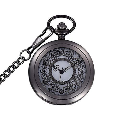 YHWW Montre de Poche Noir Cool Squelette Conception Unisexe Montre De Poche Quartz Fob Horloge Steampunk Collier Chaîne pour Hommes Femmes