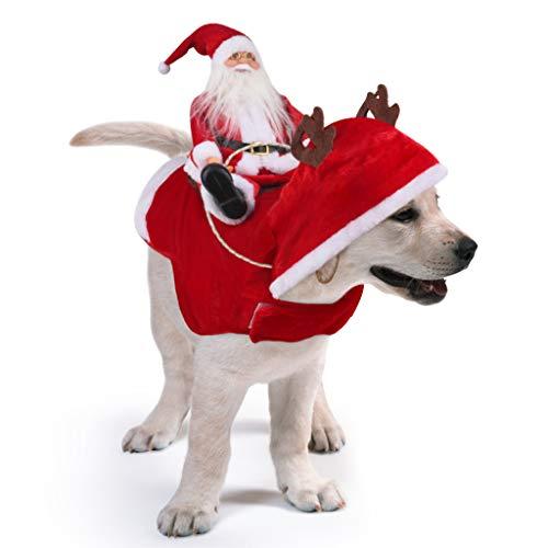 Idepet Trajes para Perros Navidad, Disfraz de Gato Navidad con Papá Noel Montado en Mascota Gato Perro Abrigo Rojo