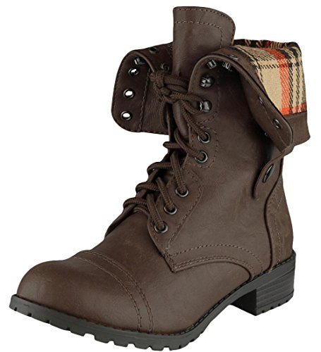 Cambridge Select Women's Cuff Fold-Over Lace-Up Chunky Stacked Heel Combat Boot,8.5 B(M) US,Dark Brown Pu