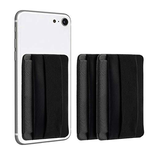 N/A 2 fundas adhesivas para teléfono móvil + correa de dedo, soporte para tarjetas de teléfono, fundas para tarjetas pegadas en el teléfono móvil, para iPhone/HUAWEI/Samsung, ID/IC, color negro