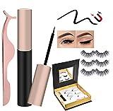 Magnetic Eyeliner with Magnetic False Eyelashes Set,2020 Updated Eyelash Waterproof/Smudge-Proof/Reusable Ultra Thin Magnetic Eyeliner, Natural Look No Glue False Lashes