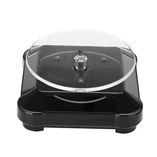 YYRL Drehbarer Schmuckständer Solar Showcase 360 Grad Drehbarer Plattenspieler Uhr Telefon Schmuck Schmuckständer LED-Licht(schwarz)
