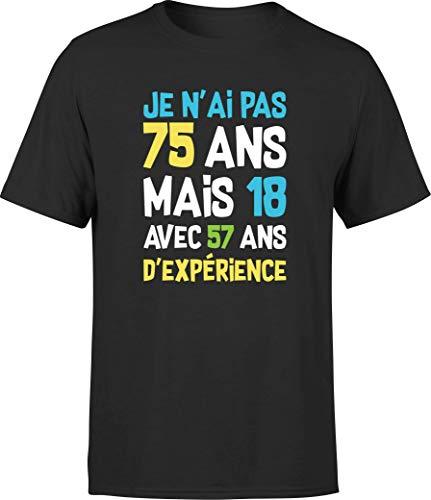 T Shirt Homme Je n'ai Pas 75 Ans | Cadeau Humour Papa Anniversaire Original Rigolo Humoristique