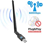 USB WiFi Adapter 600Mbps Wireless Network Adapter 802.11ac with Dual Band 2.4GHz and 5.8GHz No CD Network Card Wireless Network WiFi Dongle with 5dBi Antenna for Desktop Windows 10/8/7/Vista/XP Mac OS