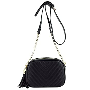 Simple Shoulder Bag Crosbody with Metal Chain Strap and Black Size One Size
