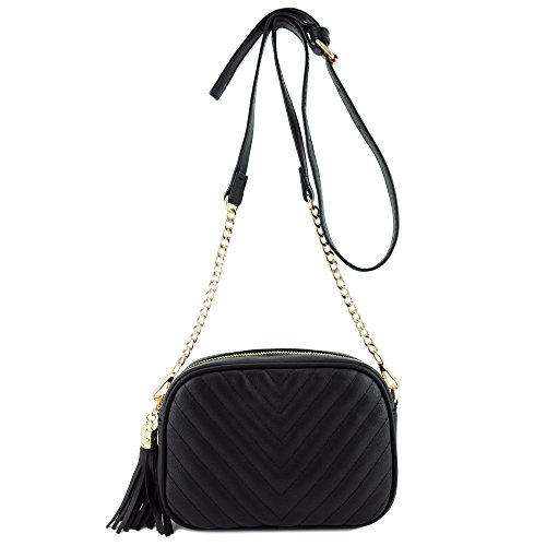Simple Shoulder Bag Crosbody with Metal Chain Strap and, Black, Size One Size
