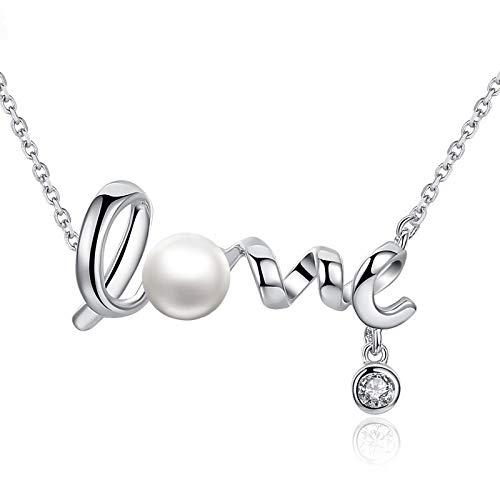 MSTOT halsketting van sterling zilver met natuurlijke zoetwaterparels, letterhanger, liefdesketting, korte ketting