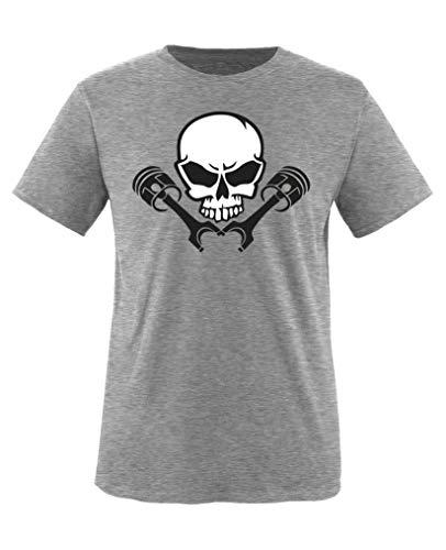 Comedy Shirts - Totenkopf Kolben - Jungen T-Shirt - Graumeliert/Schwarz-Weiss Gr. 122-128