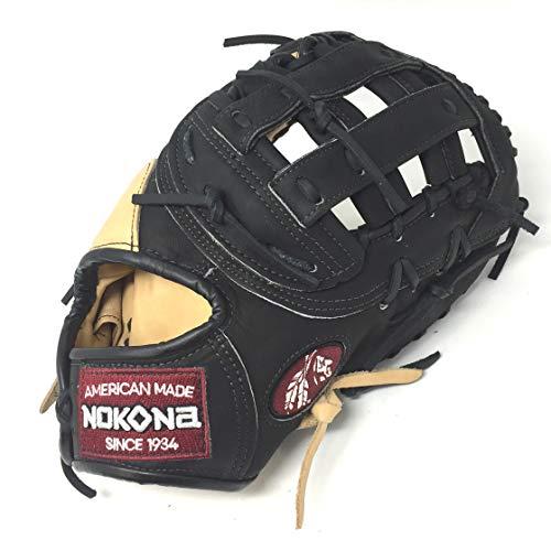 Nokona Bison 12.5 Black Alpha First Base Mitt Baseball Glove S-3HB Right Hand Throw