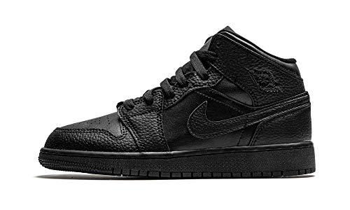 Nike AIR JORDAN 1 MID (GS), Boy's Basketball Shoe, Black Black Black, 3 UK (35.5 EU)