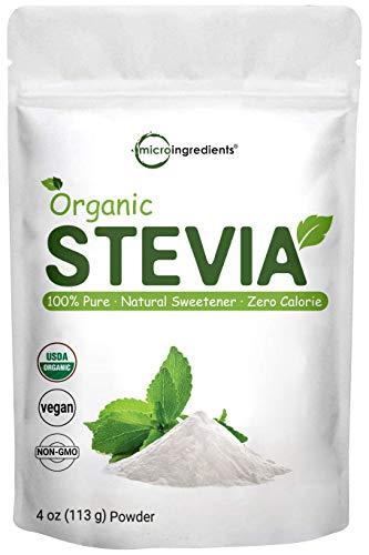 Pure Organic Stevia Powder, 4 Ounces, 706 Serving, 0 Calorie, Natural Sweetener, Sugar Alternative, Premium Stevia for Keto Diet, No GMOs and Vegan Friendly