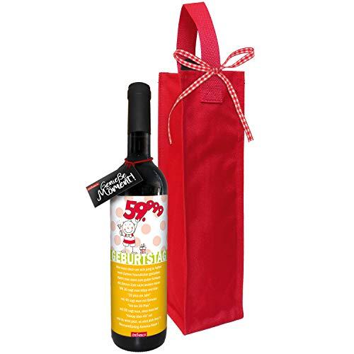 STEINBECK Wein 60 Geburtstag Geschenk trockener Rotwein aus Spanien 100% Tempranillo Valdepenas Einladung Mitbringsel Happy Birthday Mann Frau sechzig
