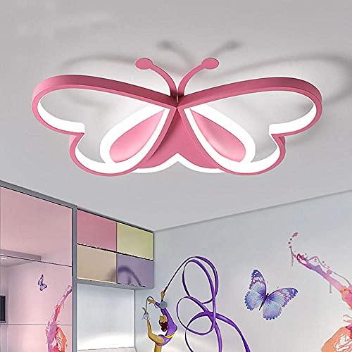 ZHANGDA Nette schöne Schmetterling LED Unterputz Deckenleuchte für Kinderzimmer Moderne Eisen Acryl LED Deckenleuchte In der Nähe der Deckenleuchte für Schlafzimmer Wohnzimmer (Pink)