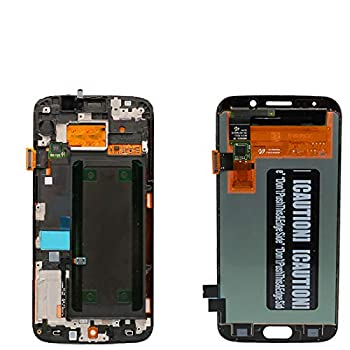 XQ Parts LCD Display Digitizer Touch Screen Assembly with Frame for Samsung Galaxy S6 Edge G925 G925F G925I OLED LCD 5.1   with Free Tempered Glass  Black