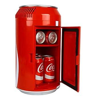 Coca-Cola Portable 8 Can Thermoelectric Mini Fridge 5.4 L/ 5.7 Quarts Capacity 12V DC/110V AC Cooler for home den dorm cottage cabin beer beverages snacks skincare cosmetics medication