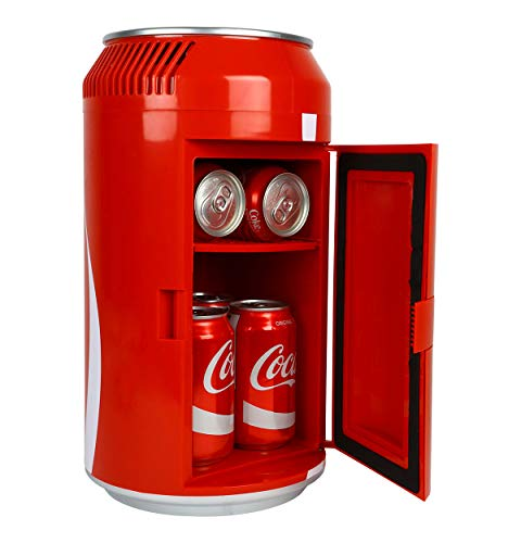 Coca-Cola Portable 8 Can Thermoelectric Mini Fridge 5.4 L/ 5.7 Quarts Capacity, 12V DC/110V AC Cooler for home, den, dorm, cottage, cabin, beer, beverages, snacks, skincare, cosmetics, medication