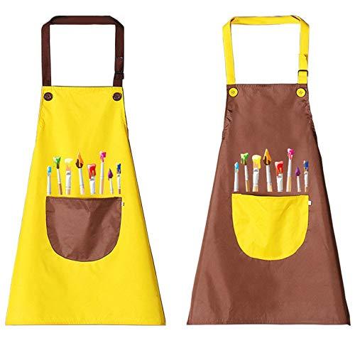 Tadpolez 2 Stück Kinder Schürzen Set Mit Taschen,Kinder Verstellbare Kochschürze Jungen Mädchen Malschürze Verstellbare Kleinkind Kochschürze Für Basteln Malen Backen Kochen (Gelb, Braun 7-13 Jahre)