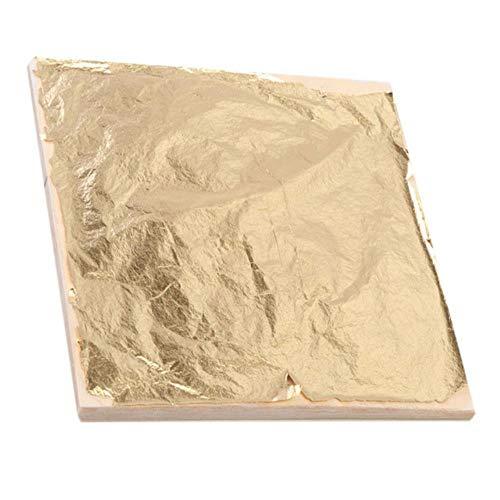 100 stks 14x14 cm Art Craft Papier Imitatie Goud Zilver Koper Blad Bladeren Vellen Folie Papier voor Vergulden DIY Craft Decoratie, Goud, China