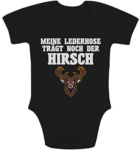 Shirtgeil Meine Lederhose Trägt Noch Der Hirsch Baby Body Kurzarm-Body 3-6 Monate Schwarz