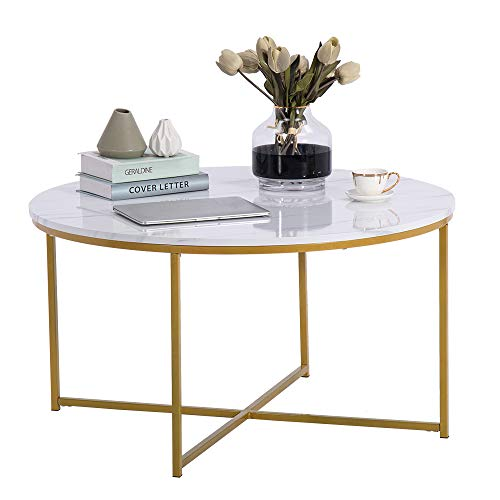 SSLine Round Coffee Table Modern Marble Round Table with Metal Stand Slim Top Home Furniture Creative Design End Table for Living Room Home and Office(Type2)