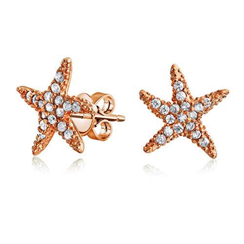 Náuticas Zirconio Cúbico CZ Estrella Del Mar Pendientes Con Forma De Mujer Rosa De Oro Chapado En Plata Sterling 925