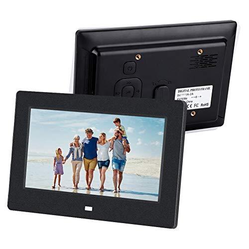 Tosuny 7 Zoll Digitaler Bilderrahmen, 1024 * 600 Auflösung Wecker Fernbedienung Eingebauter Lautsprecher Videorahmen Digital mit 2xUSB-Anschluss, bis zu 32 GB(Schwarz)