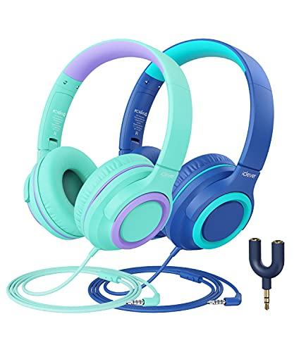 iClever Kinder Kopfhörer mit Mikrofon [2 Pack]- 94dB Safe Volume Limited - Wired Kopfhörer für Kinder mit Sharing Splitter, Tangle-Free Foldable Stereo Kopfhörer für Schule/Tablet/Reisen